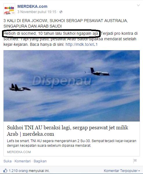 Sukhoi TNI AU era SBY dinilai tidak pernah beraksi