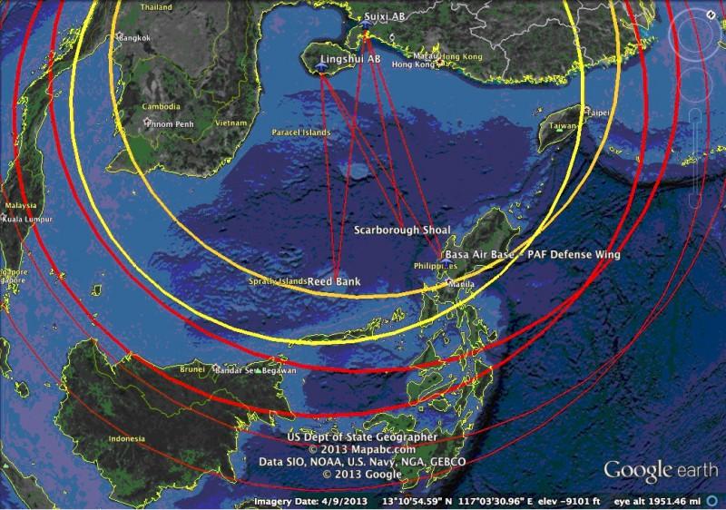 Gripen Vs Su-35 Gambar 1 Aksi radius J-11 (kuning) dan Su-35 (merah)