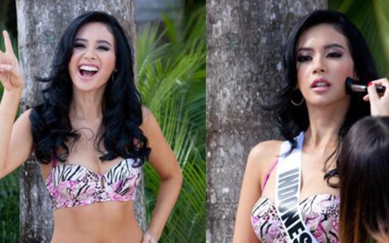 Pose Ceria Sesi Bikini Elvira Devinamira di Miss Universe 2015