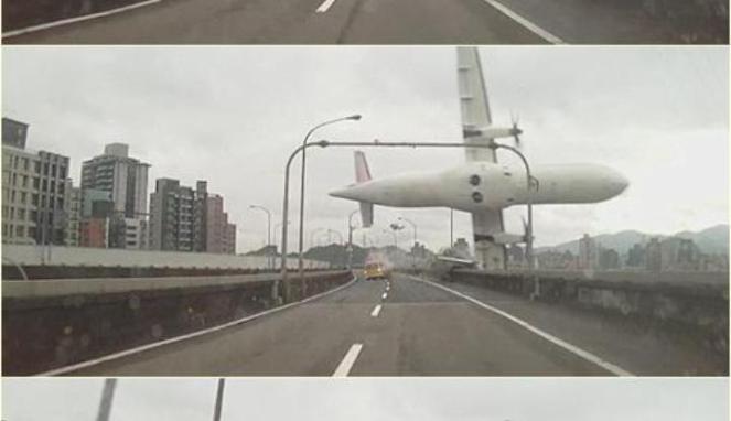 Gambar Pesawat TransAsia Jatuh