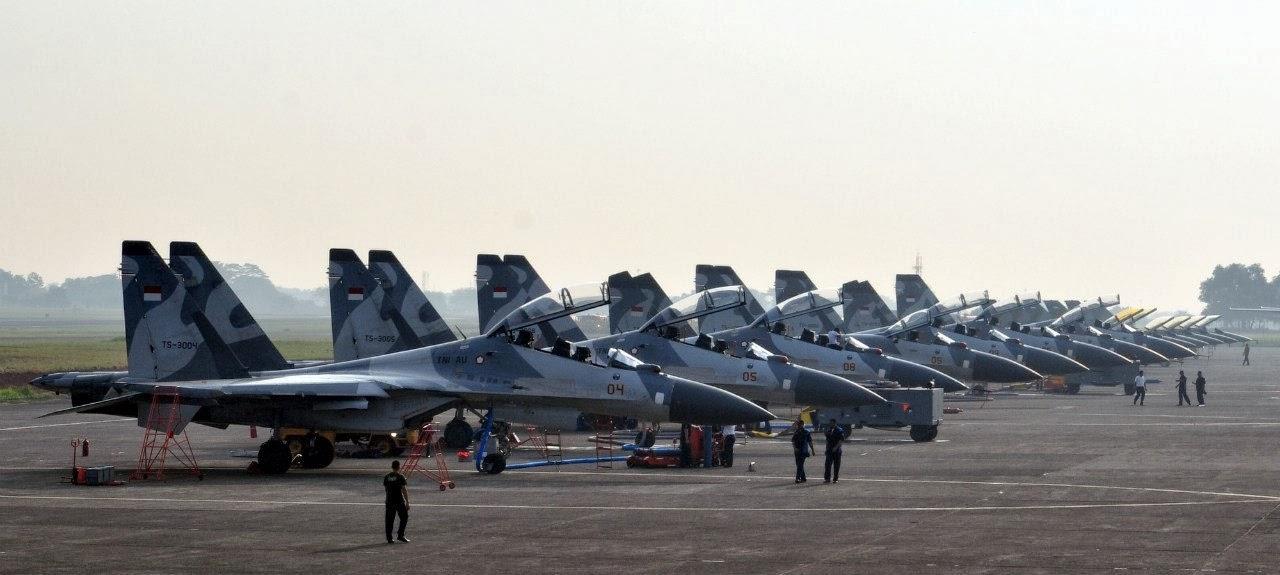 Deretan Jet Tempuar Sukhoi Su-27-30 TNI AU