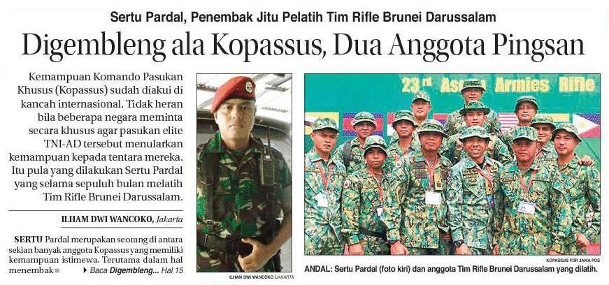 Sertu pardal, penembak jitu pelatih tim rifle Brunei Darussalam