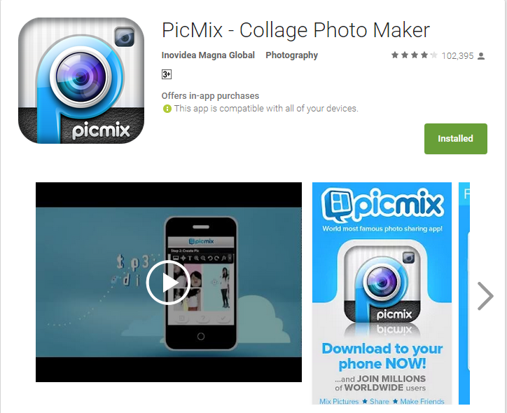 Aplikasi Android Terpopuler - Picmix Collage Photo Maker