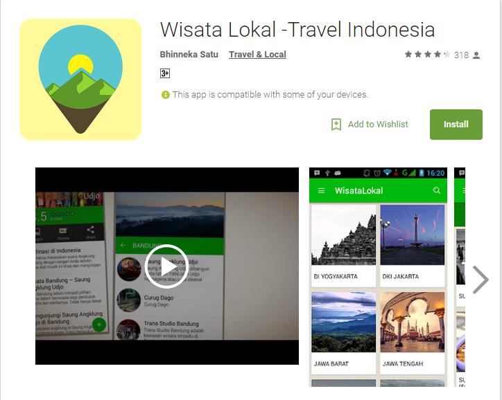 Aplikasi Android Terpopuler - Wisata Lokal