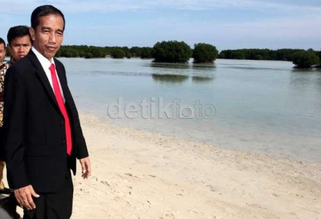 Jokowi di Pasir Perawan Pulau Pari