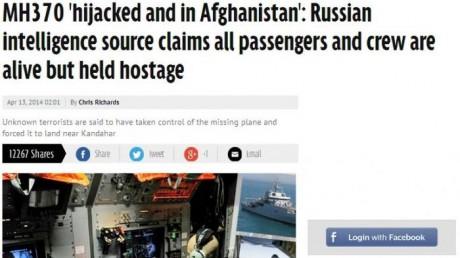 MH370 Dibajak Teroris Afghanistan