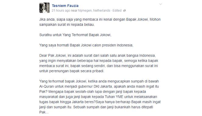 Surat Terbuka Putri Amien Rais Untuk Jokowi