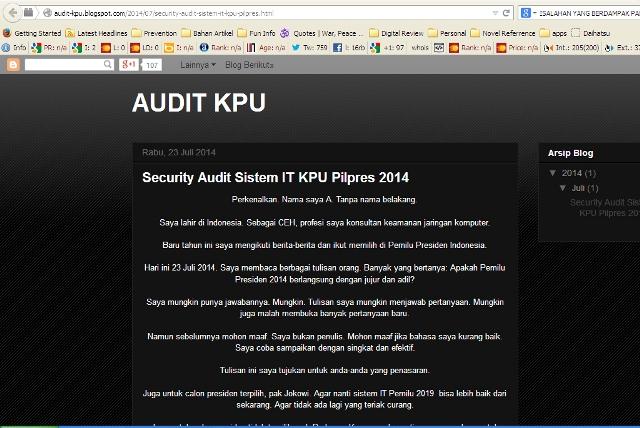 Audit Sistem KPU Pilpres 2014