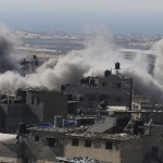 Smoke is seen following what police said was an Israeli air strike in Rafah in Gaza Strip
