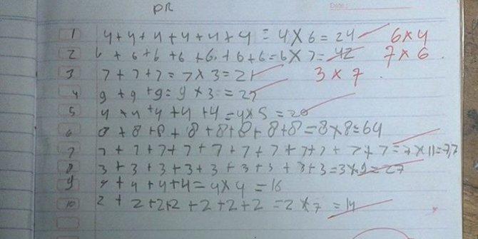 Heboh Foto PR Matematika Anak SD
