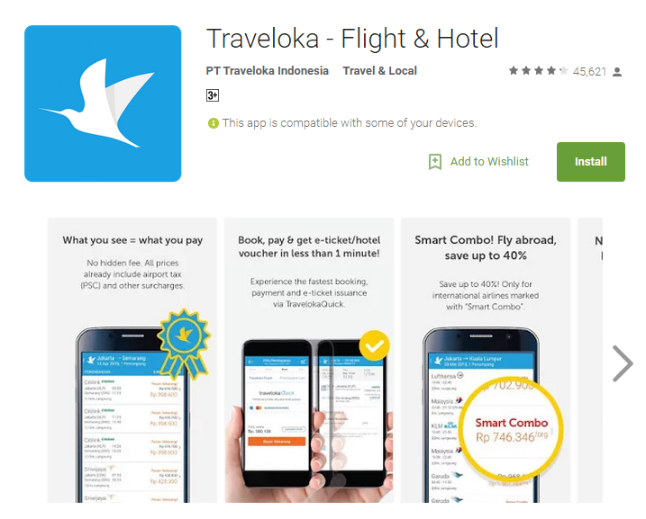 Aplikasi Android Terpopuler - Traveloka Flight & Hotel
