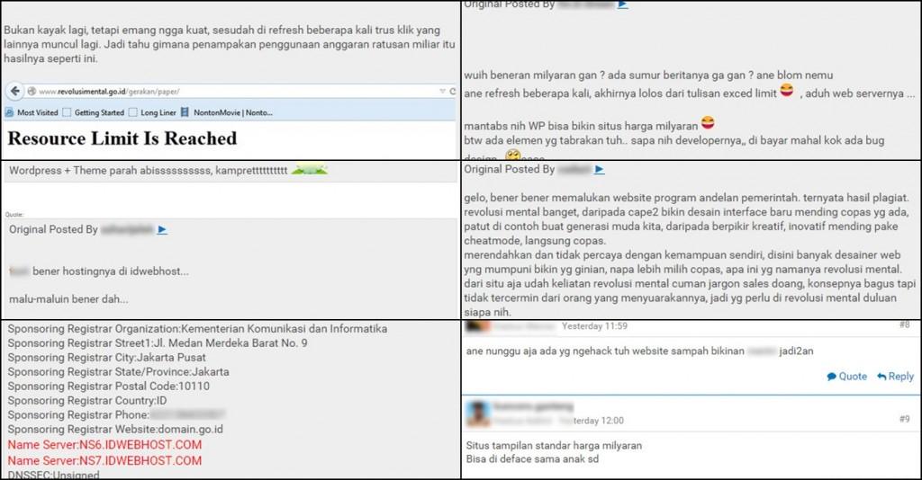 Beberapa Komentar dari Agan-agan Kaskus Terkait Tampilan Website Revolusi Mental