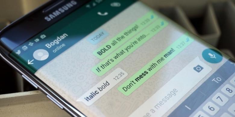 Cara Membuat Huruf Cetak Tebal dan Miring di Whatsapp - Kompas.com