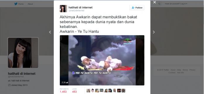 AwKarin Yee Tu Hantu - @hati2diinternet