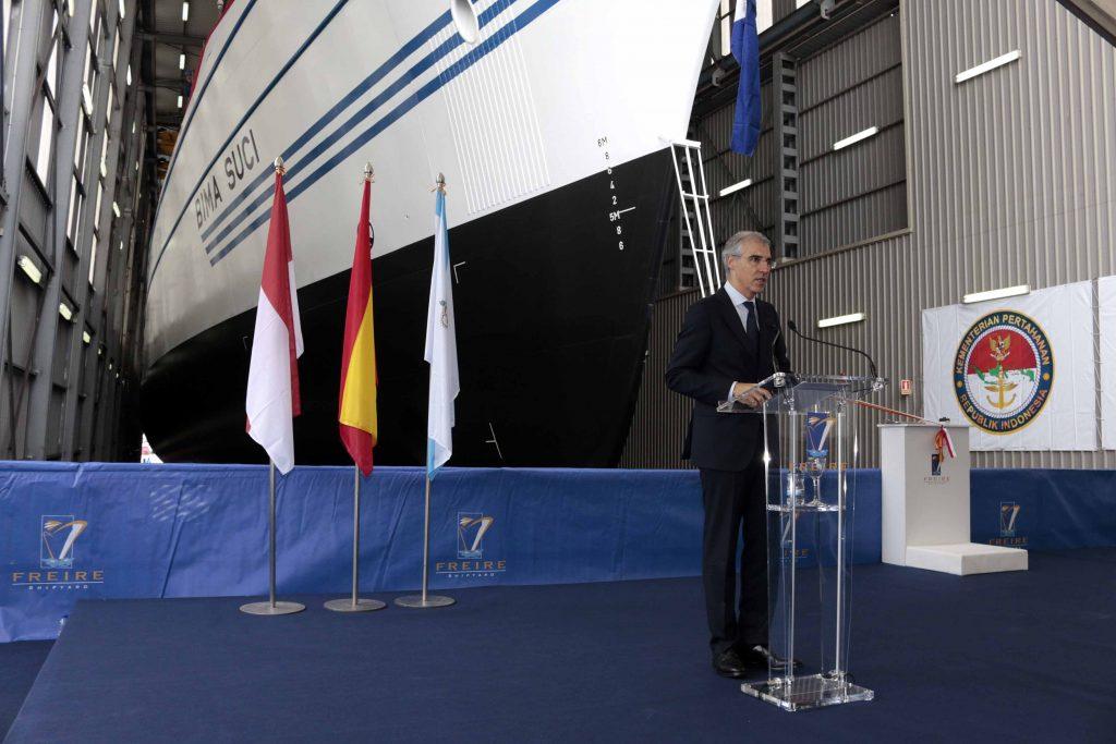 KRI Bima Suci Diluncurukan - Freire Shipyard, Vigo, Spanyol (17/10/2016). (defence.pk/pr1v4t33r) / detik.com