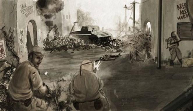 Ilustrasi Inggris di Pertempuran Surabaya 10 November - (Src: Moddb)