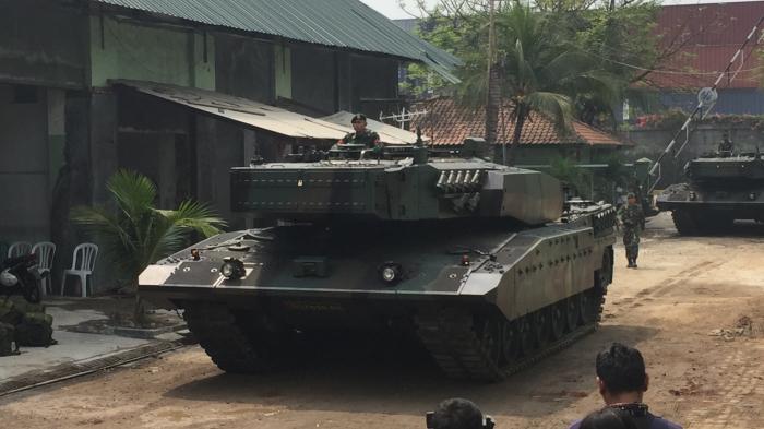 Tank Leopard 2RI Bersiap Mengikuti Latihan Taktis Antar Kecabangan TNI AD di Natuna - (Src: Tribunnews.com/Wahyu)