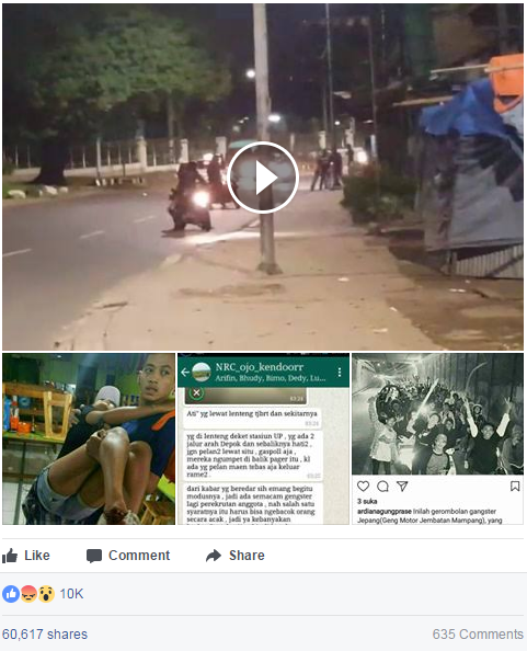 Aksi Geng Motor di Lenteng Agung, Jagakarsa Saat Bacok Pengendara yang Melintas - Facebook Post