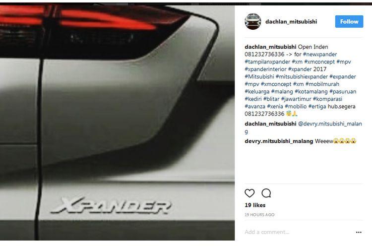 Bocoran Nama Mitsubishi Expander jadi Xpander - IG @Dachlan_mitsubishi