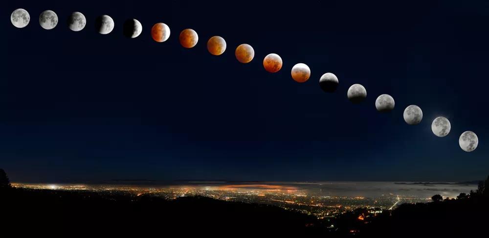 Foto Indah Gerhana Bulan di Perbukitan - theconversationDOTcom