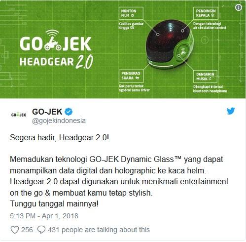 Helm Canggih Gojek - Twitter Go-Jek