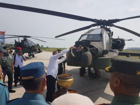Menutup rangkaian penerimaan 8 Apache tersebut, dilakukan pentasbihan secara simbolis oleh Menhan RI Ryamizard Ryacudu , Aslog Panglima TNI dan Kasad, dengan penyiraman air kembang ke badan pesawat.