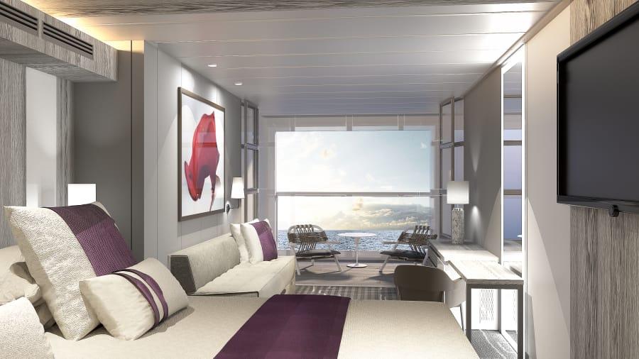 Bagian Ruang Tidur Kapal Celebrity Edge, Desainer Merancang Dengan Gaya Infinity Balkon - Courtesy Celebrity Cruises Via CNNDotcom