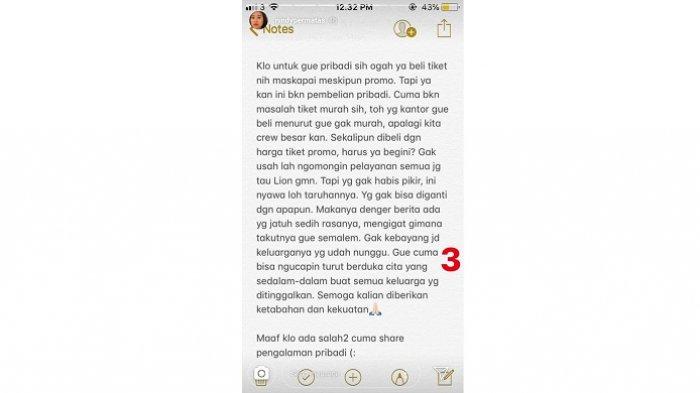 Gambar 3 - Pengalaman Eks Penumpang Lion Air JT610 Sehari Sebelum Jatuh - IG @NindyPermatas