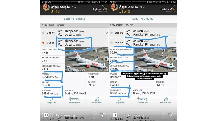 Rekaman Penerbangan Lion Air JT610 yang Jatuh - Data Flight Radar