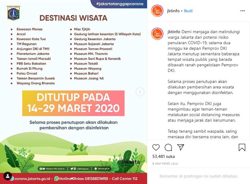 Daftar Tempat Wisata di Jakarta yang Ditutup